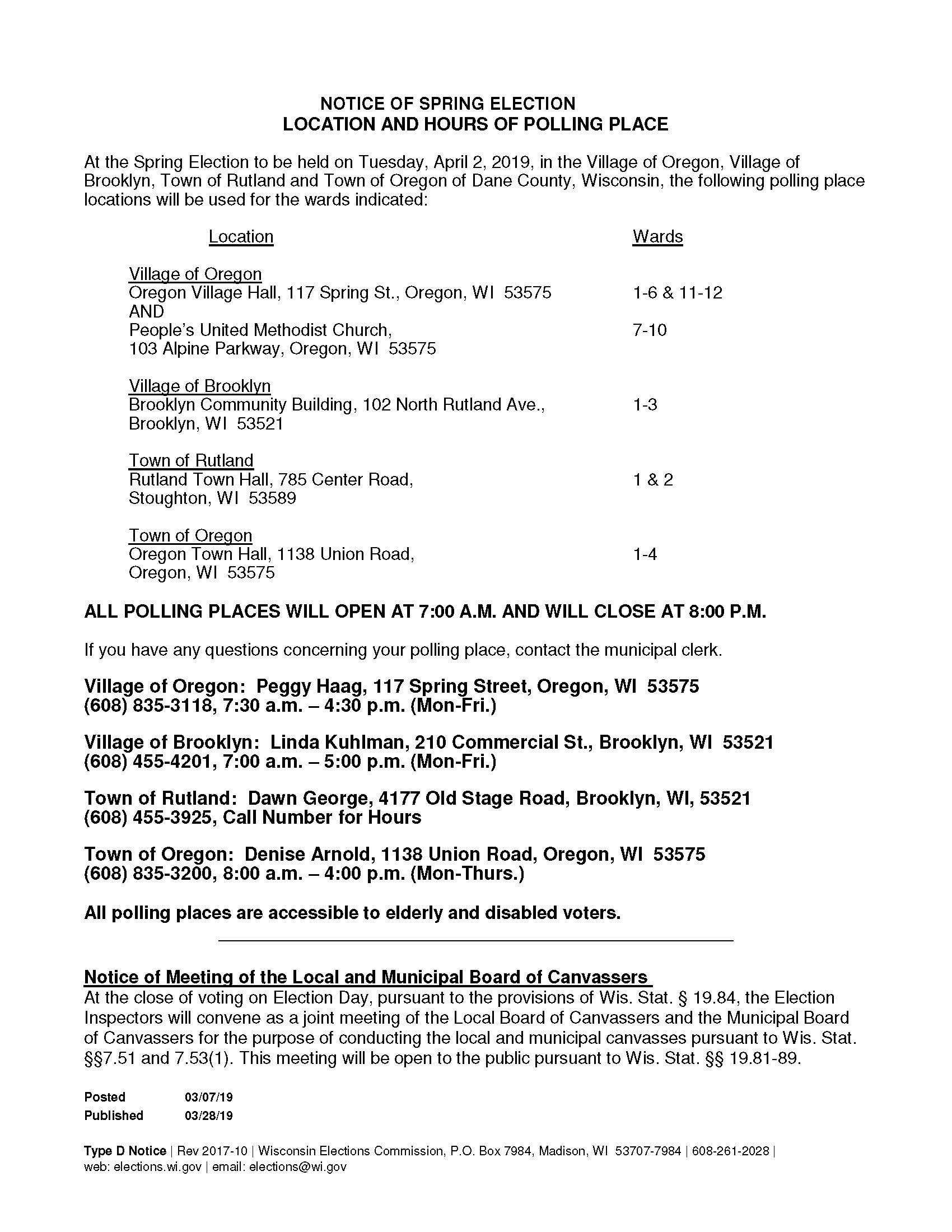 Type D Notice of Location and Hours - April 2019