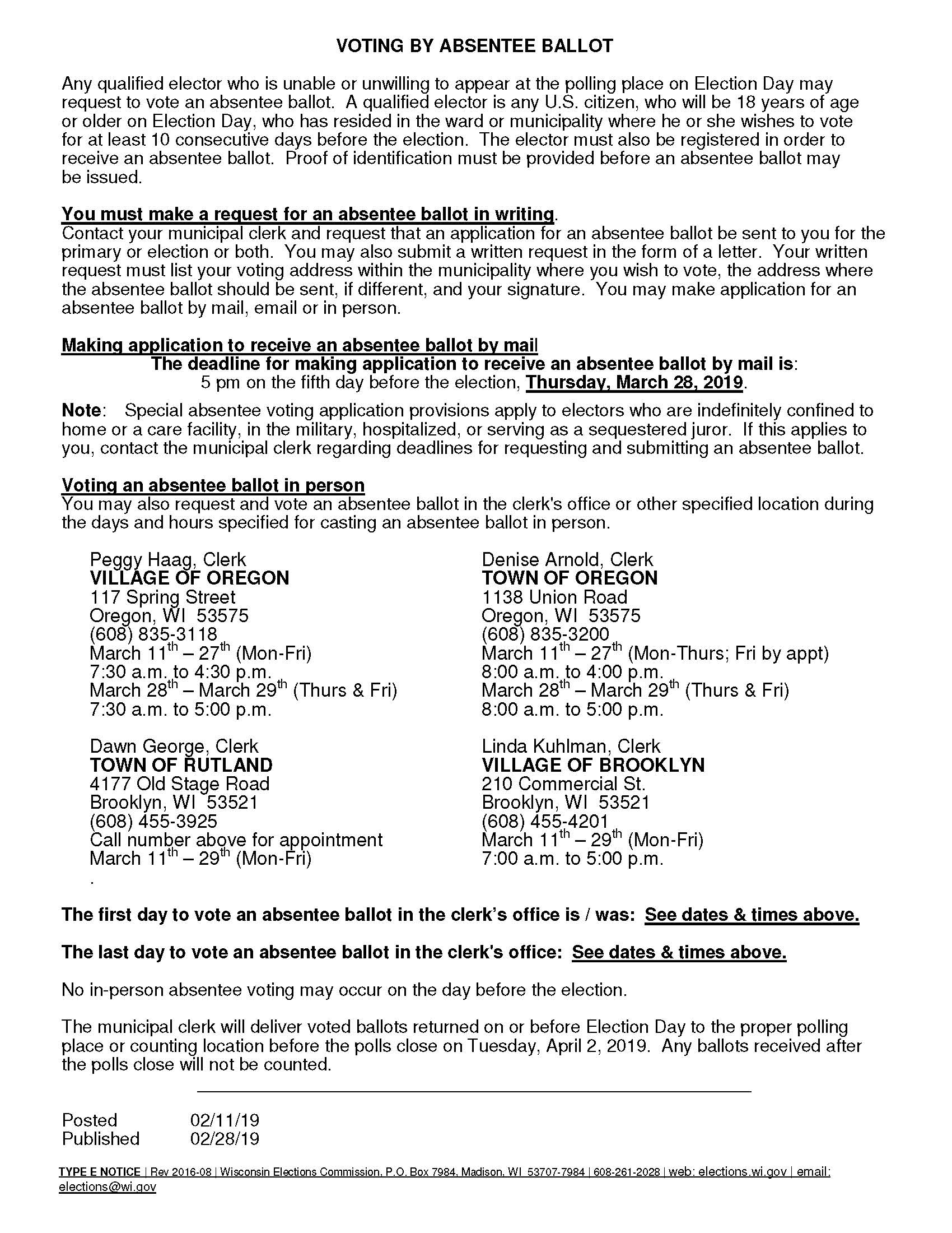Type E Notice of Absentee Voting for April 2019