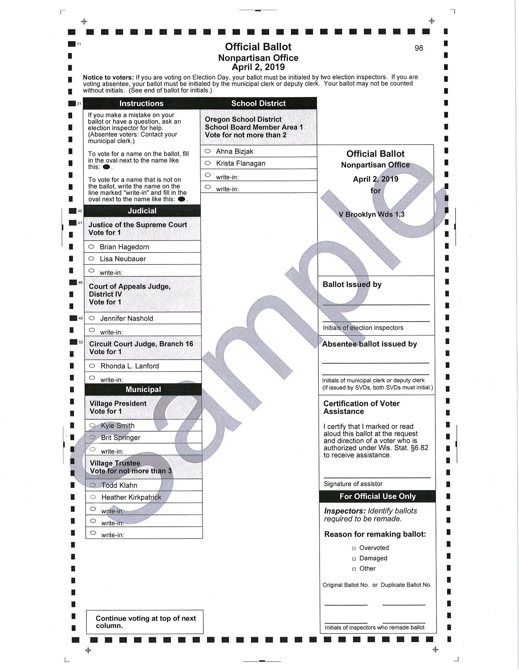 sample ballot dane