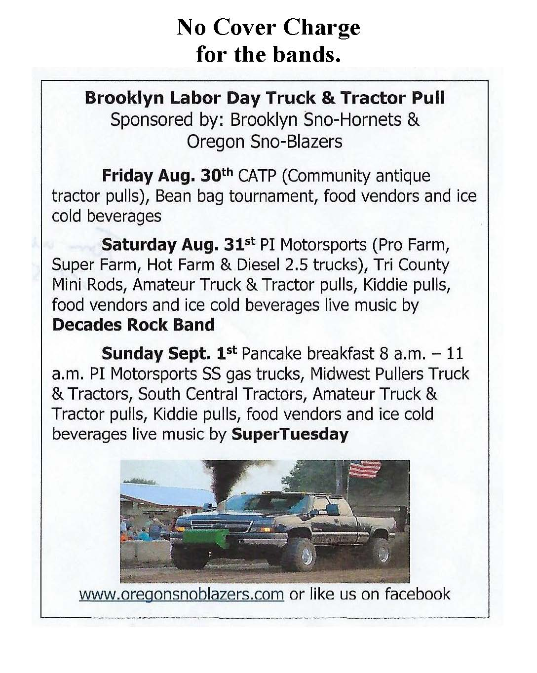 Brooklyn Labor Day Truck & Tractor Pull 8/31/19 through 9/1/19